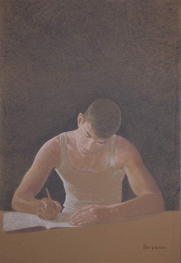 Αγόρι που διαβάζει έργο τέχνης