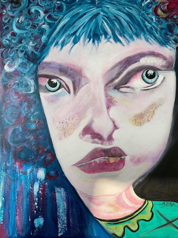Μαίρη Τριβιζά, Innosence can talk, 80x60cm, Ακρυλικά σε καμβά