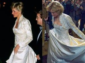 πριγκίπισσα Νταϊάνα πραγματικότητα The Crown με ασημί φόρεμα