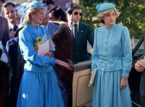 πριγκίπισσα Νταϊάνα πραγματικότητα The Crown γαλάζιο φόρεμα