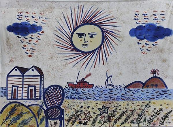 τιμητική διάκριση και παρασημο δόθηκε στον ζωγράφο Αλέκο Φασιανόστη φωτογραφία βλέπουμε πίνακα του