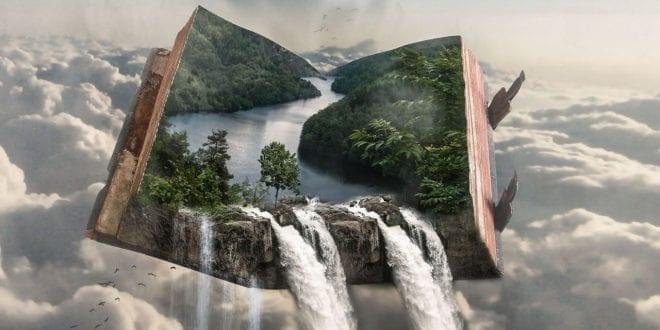 Εικόνα με ένα βιβλίο, μέσα από το οποίο ξεχειλίζει ένας φανταστικός κόσμος