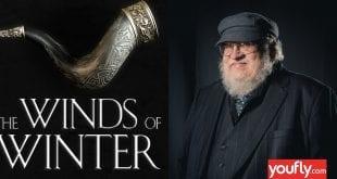 Κολάζ με Martin και εξώφυλλο Winds of Winter
