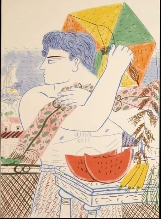 έργο ζωγραφισμένο που δείχνει χαρταετό