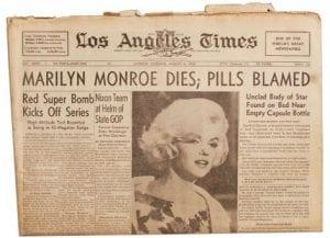 Εφημερίδα που ανακοινώνει τον θάνατο της Marilyn Monroe
