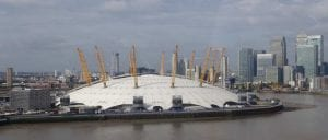 H Arena O2 στο Λονδίνο σε φωτογραφία από ψηλά