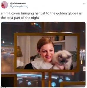 Η Emma corrin με τη γάτα της