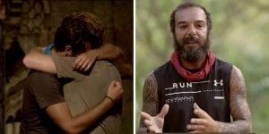 Τριαντάφυλλος και Τζέιμς με Νίκος στο σε πλάνα από το Survivor