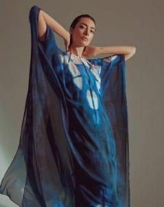 Μπλε φόρεμα caftan Halston