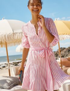 Ροζ ριγέ κοντό φόρεμα
